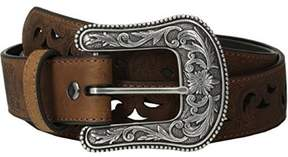 Ariat A1514802-XL 1.5 in. Womens Paisley Design Cutout Leather Belt, Brown - Extra Large