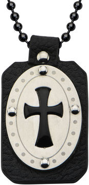JCPenney FINE JEWELRY Inox Jewelry Mens Genuine Onyx & Leather Stainless Steel Cross Pendant Necklace