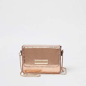 River Island Rose gold boxy mini cross body bag