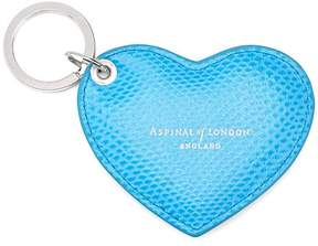 Aspinal of London | Heart Key Ring In Aquamarine Lizard | Aquamarine lizard