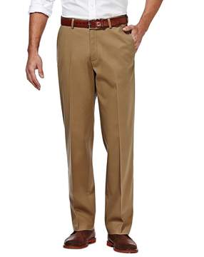 Haggar Men's Premium No-Iron Khaki Stretch Classic-Fit Flat-Front Pants