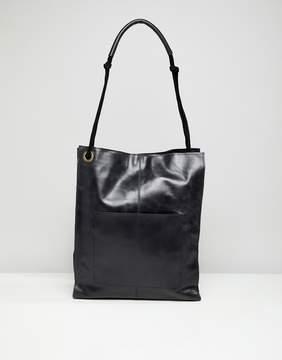 Asos DESIGN leather vintage shopper with front pocket