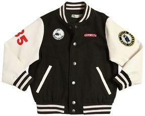 Stella McCartney Wool Felt & Faux Leather Bomber Jacket