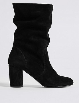 Marks and Spencer Suede Block Heel Mid-calf Boots