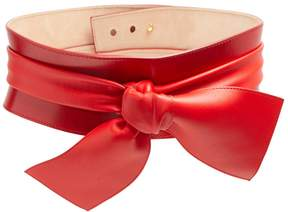 Alexander McQueen Wide bow-embellished leather belt