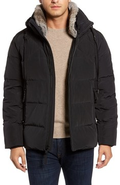 Andrew Marc Men's Navan Quilted Down Jacket With Genuine Rabbit Fur Trim