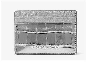 Michael Kors Jet Set Travel Metallic Embossed-Leather - Card Case - Gunmetal - 32F7MF6D0E-041 - ONE COLOR - STYLE
