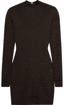 Balmain Croc-effect Knitted Mini Dress - Brown