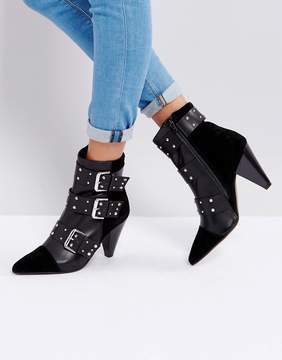 New Look Stud Buckle Ankle Boot With Cone Heel