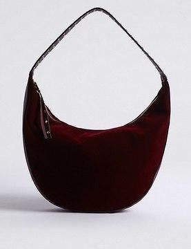 Stud Velvet Hobo Bag