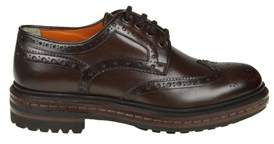 Santoni Men's Brown Leather Lace-up Shoes.