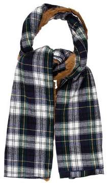 Donni Charm Fur-Trimmed Plaid Scarf w/ Tags