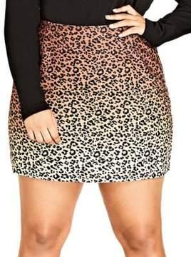 City Chic Plus Leopard Lover Mini Skirt