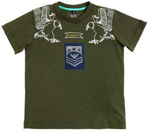 Armani Junior Eagles Printed Cotton Jersey T-Shirt