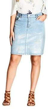 City Chic Plus Radiant Detail Denim Skirt