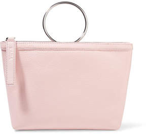KARA - Ring Textured-leather Clutch - Baby pink