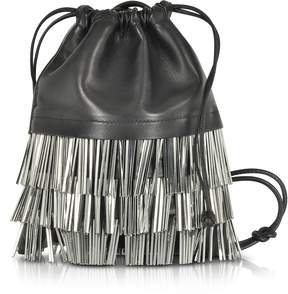 Alexander Wang Ryan Mini Black Smooth Leather Dust Bag w/Bugle Beads