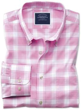 Charles Tyrwhitt Slim Fit Button-Down Non-Iron Poplin Pink and White Check Cotton Casual Shirt Single Cuff Size Large