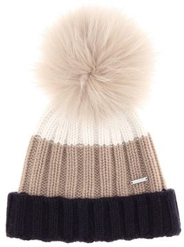 Woolrich Fur-trimmed cashmere beanie