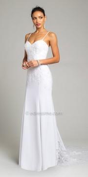 Camille La Vie Sheer Illusion Train Crepe Wedding Dress