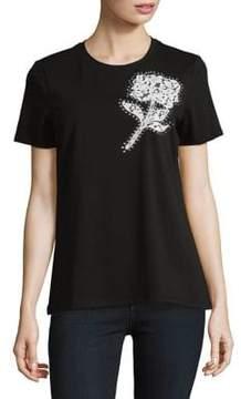 Isaac Mizrahi IMNYC Crew Neck Short-Sleeve Floral Lace Embellished Tee