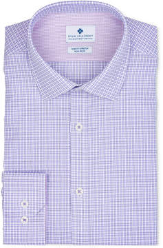 Ryan Seacrest Distinction Men's Ultimate Extended Sizing Slim-Fit Non-Iron Performance Stretch Lilac Dobby Check Dress Shirt, Created for Macy's