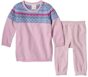 Cuddl Duds Baby Girl Fairisle Sweaterdress & Pants Set