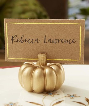 Gold Pumpkin Place Card Holder - Set of 12