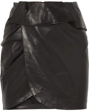 IRO Andice Ruffled Wrap-effect Leather Mini Skirt - Black