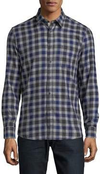 Report Collection Men's Plaid Cotton Button-Down Shirt