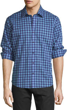 Neiman Marcus Slim-Fit Non-Iron Wear-It-Out Gingham Sport Shirt, Blue