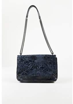 Vivienne Westwood Pre-owned Blue Black Leopard Printed Chain Link Shoulder Bag.