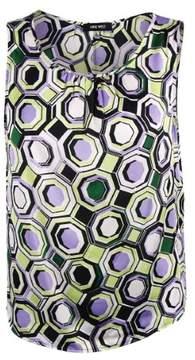 Nine West Women's Sleeveless Print Top (XL, Honey Dew Lilac Multi)
