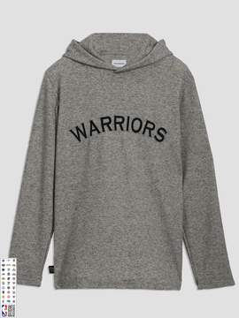 Frank and Oak Golden State Warriors Waffle-Knit Pullover Hoodie in Grey