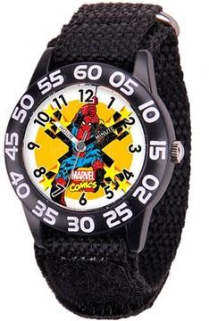 Spiderman Marvel Boys' Plastic Case Watch, Black Nylon Strap