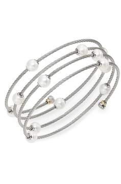 Alor Women's Classique 1.6MM White Round Freshwater Pearl, 18K White Gold & Stainless Steel Bracelet - White Gold