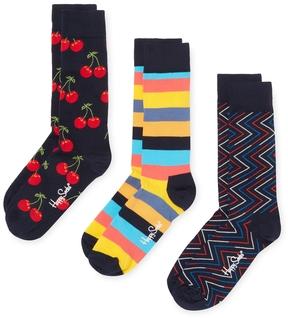 Happy Socks Men's Cherry & Stripes Socks (3 PK) - Size 10-13