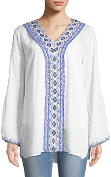 Joan Vass Diamond-Embroidered Bell-Sleeve Peasant Blouse