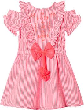 Billieblush Pink Stripe and Embroidered Cold Shoulder Dress