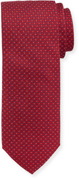 Neiman Marcus Boxed Neat-Print Silk Tie, Red