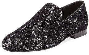 Jimmy Choo Sloane Men's Coarse Glitter Velvet Slipper, Black/Silver