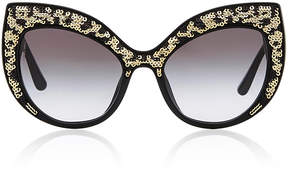 Dolce & Gabbana Leo Leopard-Print Acetate Cat-Eye Sunglasses