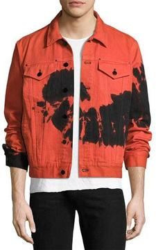Ovadia & Sons Tie-Dye Denim Jacket, Red/Black