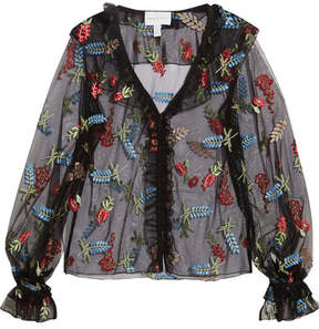 Alice McCall Time Stands Still Ruffled Embroidered Tulle Blouse - Black