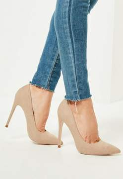 Missguided Nude Faux Suede Pointed Toe Pumps