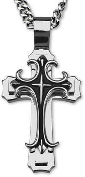 JCPenney FINE JEWELRY Inox Jewelry Mens Stainless Steel Fleur-De-Lis Cross Pendant Necklace