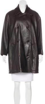 Donna Karan Leather Double-Breasted Coat