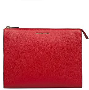 Michael Kors Bright Red Mercer Hammered Leather Clutch - RED - STYLE