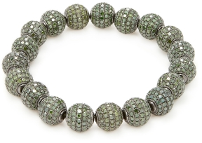 Artisan Women's Silver & 22.99 Total Ct. Green Diamond Ball Bracelet