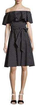 Donna Morgan Polka Dot Off-Shoulder Midi Dress